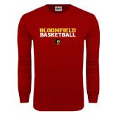 Cardinal Long Sleeve T Shirt-Basketball Stacked Design