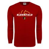 Cardinal Long Sleeve T Shirt-Volleyball Half Ball Design