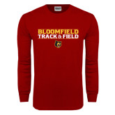 Cardinal Long Sleeve T Shirt-Track and Field Stacked Design