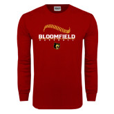 Cardinal Long Sleeve T Shirt-Baseball Seams Stacked Design