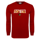 Cardinal Long Sleeve T Shirt-Softball Stacked Design