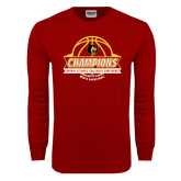 Cardinal Long Sleeve T Shirt-Mens Basketball Champions with Ball