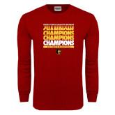 Cardinal Long Sleeve T Shirt-Mens Basketball Champions Stacked