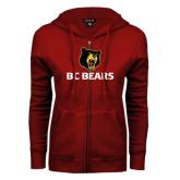ENZA Ladies Cardinal Fleece Full Zip Hoodie-BC Bears Stacked