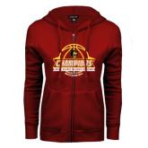 ENZA Ladies Cardinal Fleece Full Zip Hoodie-Mens Basketball Champions with Ball