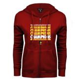 ENZA Ladies Cardinal Fleece Full Zip Hoodie-Mens Basketball Champions Stacked