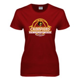Ladies Cardinal T Shirt-Mens Basketball Champions with Ball