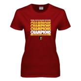Ladies Cardinal T Shirt-Mens Basketball Champions Stacked