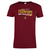 Ladies Cardinal T Shirt-2018 CACC Mens Track and Field Champions