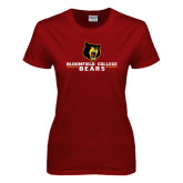 Ladies Cardinal T Shirt-Bloomfield College Bears Stacked