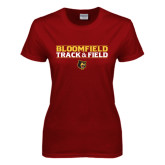 Ladies Cardinal T Shirt-Track and Field Stacked Design