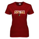 Ladies Cardinal T Shirt-Softball Stacked Design