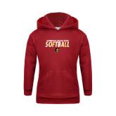 Youth Cardinal Fleece Hoodie-Softball Stacked Design