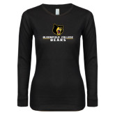 Ladies Black Long Sleeve V Neck Tee-Bloomfield College Bears Stacked