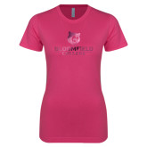 Ladies SoftStyle Junior Fitted Fuchsia Tee-Primary Mark Foil