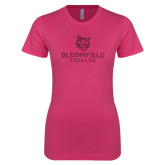 Ladies SoftStyle Junior Fitted Fuchsia Tee-Softball Stacked Design