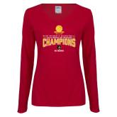 Ladies Cardinal Long Sleeve V Neck Tee-2018 Womens Regular Season Basketball Champions