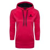 Ladies Pink Raspberry Tech Fleece Hoodie-Primary Mark Tone