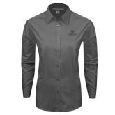 Ladies Grey Tonal Pattern Long Sleeve Shirt-Primary Mark Tone
