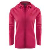 Ladies Tech Fleece Full Zip Hot Pink Hooded Jacket-Primary Mark Tone