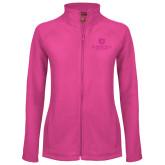 Ladies Fleece Full Zip Raspberry Jacket-Primary Mark Tone