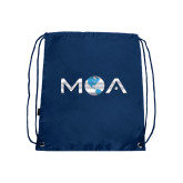 Nylon Navy Drawstring Backpack-MOA Letters Only