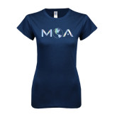 Next Level Ladies SoftStyle Junior Fitted Navy Tee-MOA Letters Only Foil