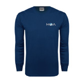 Navy Long Sleeve T Shirt-MOA Letters Only