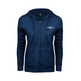 ENZA Ladies Navy Fleece Full Zip Hoodie-MOA Letters Only
