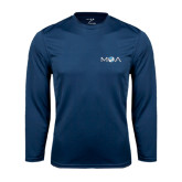 Performance Navy Longsleeve Shirt-MOA Letters Only