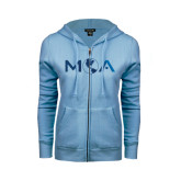 ENZA Ladies Light Blue Fleece Full Zip Hoodie-MOA Letters Only Foil