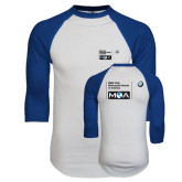 White/Royal Raglan Baseball T Shirt-BMW MOA