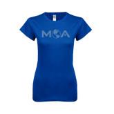 Next Level Ladies SoftStyle Junior Fitted Royal Tee-MOA Letters Only Rhinestones