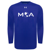 Under Armour Royal Long Sleeve Tech Tee-MOA Letters Only