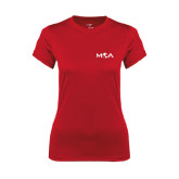 Ladies Syntrel Performance Red Tee-MOA Letters Only