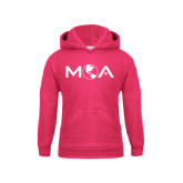 Youth Raspberry Fleece Hoodie-MOA Letters Only