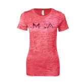 Next Level Ladies Junior Fit Fuchsia Burnout Tee-MOA Letters Only Foil
