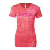 Next Level Ladies Junior Fit Fuchsia Burnout Tee-MOA Letters Only Rhinestones