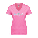 Next Level Ladies Junior Fit Deep V Pink Tee-MOA Letters Only Foil