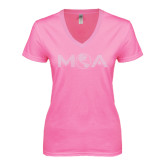 Next Level Ladies Junior Fit Ideal V Pink Tee-MOA Letters Only Rhinestones