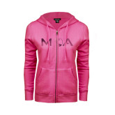 ENZA Ladies Fuchsia Fleece Full Zip Hoodie-MOA Letters Only Foil