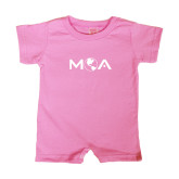 Bubble Gum Pink Infant Romper-MOA Letters Only