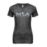Next Level Ladies Junior Fit Dark Grey Burnout Tee-MOA Letters Only Foil