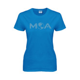Ladies Sapphire T Shirt-MOA Letters Only Rhinestones