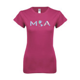 Ladies SoftStyle Junior Fitted Fuchsia Tee-MOA Letters Only Foil