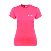 Ladies Performance Hot Pink Tee-MOA Letters Only