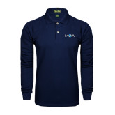 Navy Long Sleeve Polo-MOA Letters Only