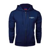 Navy Fleece Full Zip Hood-MOA Letters Only