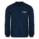 V Neck Navy Raglan Windshirt-MOA Letters Only