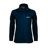 Ladies Fleece Full Zip Navy Jacket-MOA Letters Only